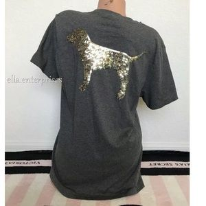 VS Pink Gold Bling Dog Dark Gray Campus Tee